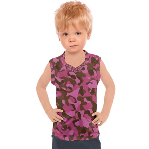Pink And Brown Camouflage Kids  Sport Tank Top by SpinnyChairDesigns