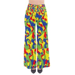 Colorful Rainbow Camouflage Pattern So Vintage Palazzo Pants by SpinnyChairDesigns