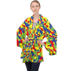 Colorful Rainbow Camouflage Pattern Long Sleeve Velvet Kimono