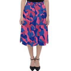Blue And Pink Camouflage Pattern Classic Midi Skirt by SpinnyChairDesigns