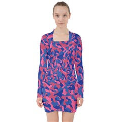 Blue And Pink Camouflage Pattern V-neck Bodycon Long Sleeve Dress