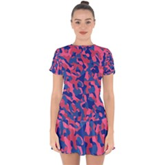 Blue And Pink Camouflage Pattern Drop Hem Mini Chiffon Dress by SpinnyChairDesigns