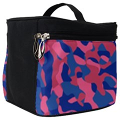 Blue And Pink Camouflage Pattern Make Up Travel Bag (big) by SpinnyChairDesigns