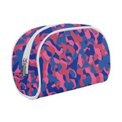 Blue And Pink Camouflage Pattern Makeup Case (small) by SpinnyChairDesigns