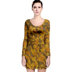 Brown And Orange Camouflage Long Sleeve Velvet Bodycon Dress
