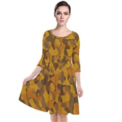 Brown And Orange Camouflage Quarter Sleeve Waist Band Dress by SpinnyChairDesigns