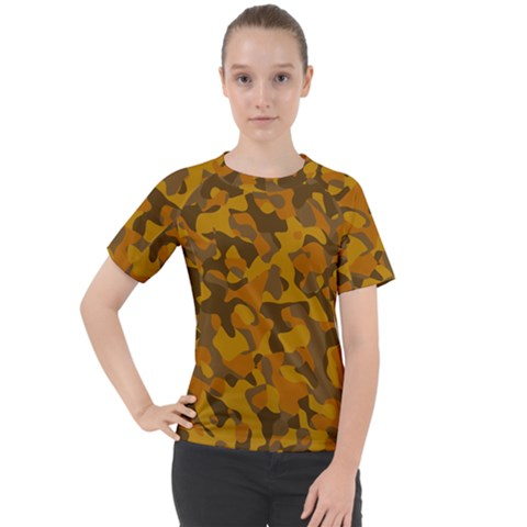 Brown And Orange Camouflage Women s Sport Raglan Tee by SpinnyChairDesigns