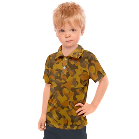 Brown And Orange Camouflage Kids  Polo Tee by SpinnyChairDesigns