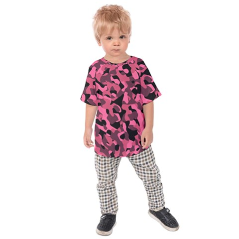 Black And Pink Camouflage Pattern Kids  Raglan Tee by SpinnyChairDesigns
