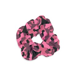 Black And Pink Camouflage Pattern Velvet Scrunchie by SpinnyChairDesigns