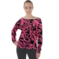 Black And Pink Camouflage Pattern Off Shoulder Long Sleeve Velour Top