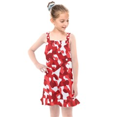Red And White Camouflage Pattern Kids  Overall Dress