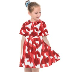 Red And White Camouflage Pattern Kids  Sailor Dress