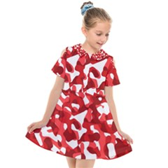 Red And White Camouflage Pattern Kids  Short Sleeve Shirt Dress