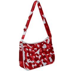 Red And White Camouflage Pattern Zip Up Shoulder Bag