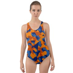 Blue And Orange Camouflage Pattern Cut-out Back One Piece Swimsuit by SpinnyChairDesigns