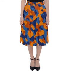 Blue And Orange Camouflage Pattern Classic Midi Skirt by SpinnyChairDesigns