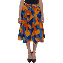 Blue And Orange Camouflage Pattern Perfect Length Midi Skirt by SpinnyChairDesigns