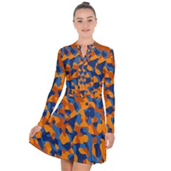 Blue And Orange Camouflage Pattern Long Sleeve Panel Dress