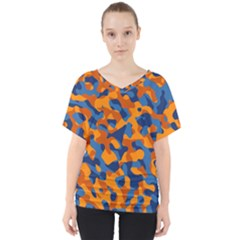 Blue And Orange Camouflage Pattern V-neck Dolman Drape Top