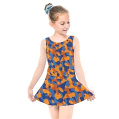 Blue And Orange Camouflage Pattern Kids  Skater Dress Swimsuit