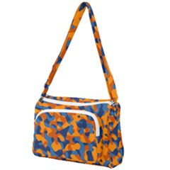Blue And Orange Camouflage Pattern Front Pocket Crossbody Bag