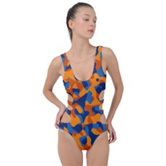 Blue And Orange Camouflage Pattern Side Cut Out Swimsuit by SpinnyChairDesigns