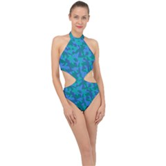 Blue Turquoise Teal Camouflage Pattern Halter Side Cut Swimsuit by SpinnyChairDesigns