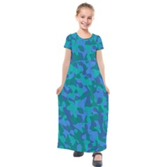Blue Turquoise Teal Camouflage Pattern Kids  Short Sleeve Maxi Dress