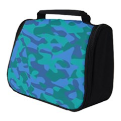 Blue Turquoise Teal Camouflage Pattern Full Print Travel Pouch (small) by SpinnyChairDesigns