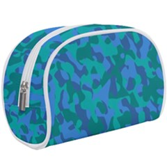 Blue Turquoise Teal Camouflage Pattern Makeup Case (large) by SpinnyChairDesigns
