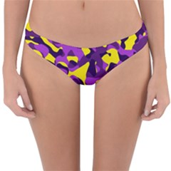 Purple And Yellow Camouflage Pattern Reversible Hipster Bikini Bottoms by SpinnyChairDesigns