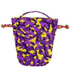 Purple And Yellow Camouflage Pattern Drawstring Bucket Bag by SpinnyChairDesigns