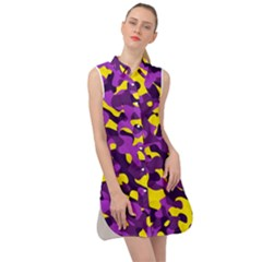 Purple And Yellow Camouflage Pattern Sleeveless Shirt Dress by SpinnyChairDesigns