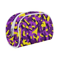 Purple And Yellow Camouflage Pattern Makeup Case (small) by SpinnyChairDesigns