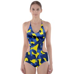 Blue And Yellow Camouflage Pattern Cut-out One Piece Swimsuit by SpinnyChairDesigns
