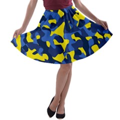 Blue And Yellow Camouflage Pattern A-line Skater Skirt by SpinnyChairDesigns