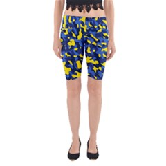 Blue And Yellow Camouflage Pattern Yoga Cropped Leggings by SpinnyChairDesigns