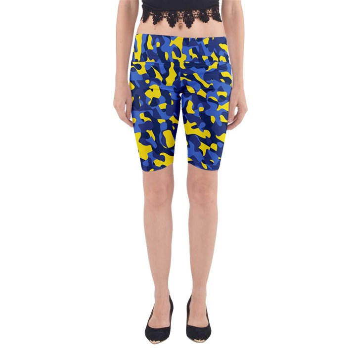Blue and Yellow Camouflage Pattern Yoga Cropped Leggings