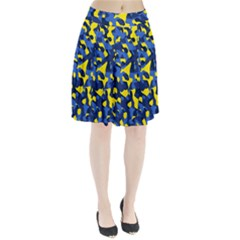 Blue And Yellow Camouflage Pattern Pleated Skirt