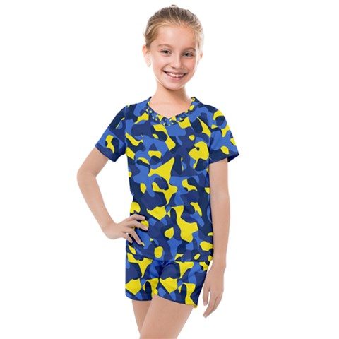 Blue And Yellow Camouflage Pattern Kids  Mesh Tee And Shorts Set by SpinnyChairDesigns