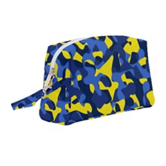 Blue And Yellow Camouflage Pattern Wristlet Pouch Bag (medium) by SpinnyChairDesigns
