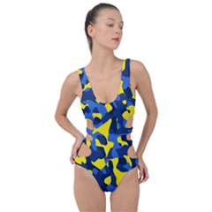 Blue And Yellow Camouflage Pattern Side Cut Out Swimsuit by SpinnyChairDesigns