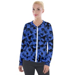 Black And Blue Camouflage Pattern Velour Zip Up Jacket