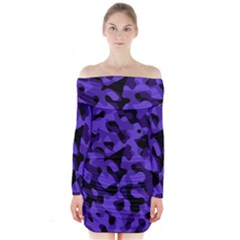 Purple Black Camouflage Pattern Long Sleeve Off Shoulder Dress by SpinnyChairDesigns