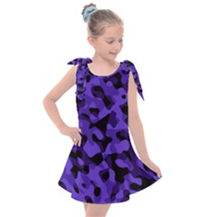 Purple Black Camouflage Pattern Kids  Tie Up Tunic Dress