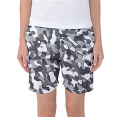 Grey And White Camouflage Pattern Women s Basketball Shorts