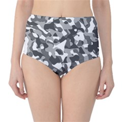 Grey And White Camouflage Pattern Classic High-waist Bikini Bottoms by SpinnyChairDesigns