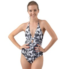 Grey And White Camouflage Pattern Halter Cut-out One Piece Swimsuit