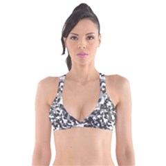 Grey And White Camouflage Pattern Plunge Bikini Top
